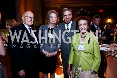 "Joe Duffey, Susan Eisenhower, Sen. Chuck Robb, Lucky Roosevelt. Photo by Tony Powell. ""The Presidents' Gatekeepers"" Screening. Mellon Auditorium. September 10, 2013"