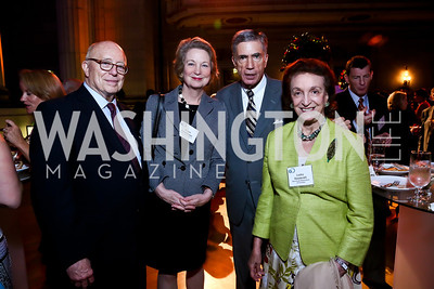 "Joe Duffey, Susan Eisenhower, Sen. Chuck Robb, Lucky Roosevelt. Photo by Tony Powell. ""The Presidents' Gatekeepers"" Screening. Mellon Auditorium. September 10, 2013"