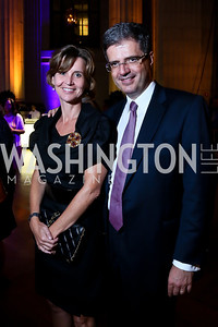 "Sophie Delattre and French Amb. Francois Delattre. Photo by Tony Powell. ""The Presidents' Gatekeepers"" Screening. Mellon Auditorium. September 10, 2013"