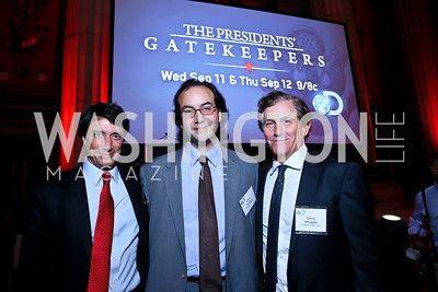 "'Gatekeepers' directors Gedean and Jules Naudet, Executive Producer Chris Whipple. Photo by Tony Powell. ""The Presidents' Gatekeepers"" Screening. Mellon Auditorium. September 10, 2013"