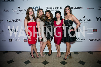 Jenna Gibson, Sheena Tahilramani, Denise Gitsham, Raquel Cabral, Kim McIntyre Photo by Alfredo Flores. The Young and The Guest List Party 2013. Carnegie Library. December 11, 2013.