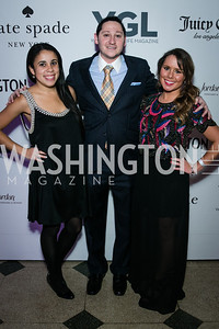 Bethany Watson, Jay Cohen, Rebekah Coughlin. Photo by Alfredo Flores. The Young and The Guest List Party 2013. Carnegie Library. December 11, 2013.