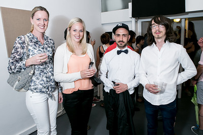 Johanne Eikenes, Sina Lunde, Karen Nikgol, Hans Christian Skovholt. Photo by Alfredo Flores. Transformer opening reception for Terminators. Transformer . May 11, 2013