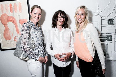 Johanne Eikenes, Hans Christian Skovholt, Sina Lunde. Photo by Alfredo Flores. Transformer opening reception for Terminators. Transformer . May 11, 2013
