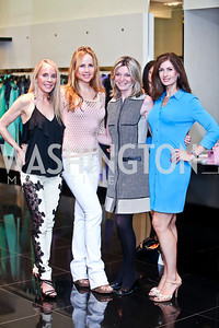 Cindy Jones, Jocelyn Greenan, Kay Kendall, Nina Snow. Photo by Tony Powell. Versace Shopping Event to benefit CNMC. Tysons Galleria. April 10, 2013