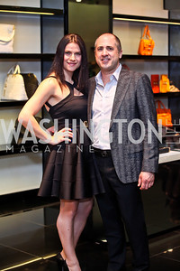 Alla Farberov, Shane Robbins. Photo by Tony Powell. Versace Shopping Event to benefit CNMC. Tysons Galleria. April 10, 2013