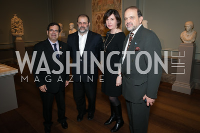 Rep. Gus Bilirakis, Michalis Ignation, Anna Kaaragiannopoulou Morris, Christos Failadis. Photo by Alfredo Flores. Viewing and Reception in honor of Heaven and Earth  Art of Byzantium from Greek Collections. National Gallery of Art. December 3, 2013.