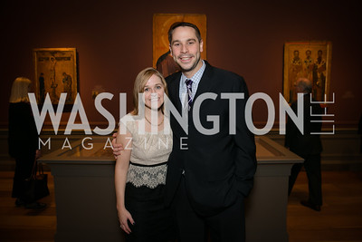 Brooke Owens, Brett Silcox. Photo by Alfredo Flores. Viewing and Reception in honor of Heaven and Earth  Art of Byzantium from Greek Collections. National Gallery of Art. December 3, 2013.