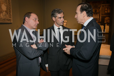 Aris Spiriotopoulous, Amb. Christos Panagopoulos, Giorgos Karagiannidis. Photo by Alfredo Flores. Viewing and Reception in honor of Heaven and Earth  Art of Byzantium from Greek Collections. National Gallery of Art. December 3, 2013.