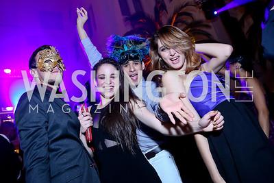 "WB dancers James Preng, Taylor Massa, Jorge Cardozo, Esmiana Jani. Photo by Tony Powell. Jete Society's ""Unmask the Night."" Homer Building. October 26, 2013"