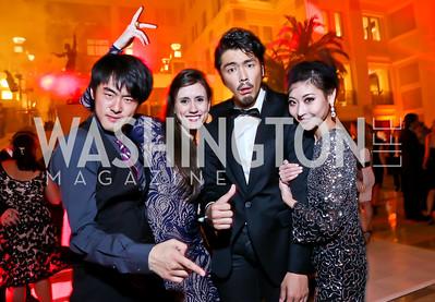 "Sun Chong, Aurora Dickie, Hyun Woong Kim, Maki Onuki. Photo by Tony Powell. Jete Society's ""Unmask the Night."" Homer Building. October 26, 2013"