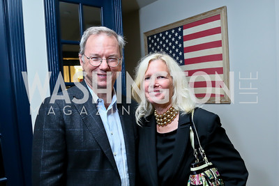 Eric Schmidt, Susan Blumenthal. Photo by Tony Powell. Welcome Reception for Anne-Marie Slaughter. Teddy and the Bully Bar. September 11, 2013