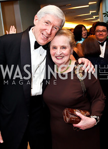 Robert Hormats, Madeleine Albright. Photo by Tony Powell. WHC Pre Parties. Hilton Hotel. April 27, 2013