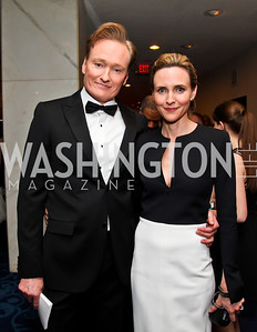 Conan O'Brien and Liza Powel. Photo by Tony Powell. WHC Pre Parties. Hilton Hotel. April 27, 2013