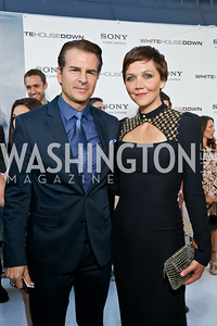 "Vincent De Paul, Maggie Gyllenhaal. Photo by Tony Powell. ""White House Down"" red carpet. AMC Loews Georgetown. June 22, 2013"