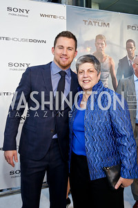 "Channing Tatum, Director of Homeland Security Janet Napolitano. Photo by Tony Powell. ""White House Down"" red carpet. AMC Loews Georgetown. June 22, 2013"