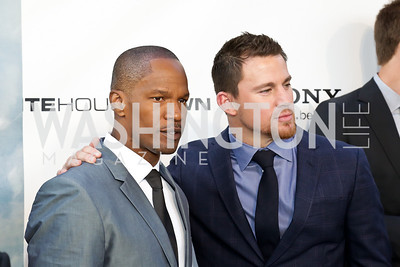 "Jamie Foxx, Channing Tatum. Photo by Tony Powell. ""White House Down"" red carpet. AMC Loews Georgetown. June 22, 2013"
