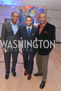 Rich Counts, Lawrence O'neal, John Fitzgerald Booty, Washington Life Magazine hosts the 8th Annual Young and the Guest List party at the Carnegie Library.  Photo by Ben Droz.