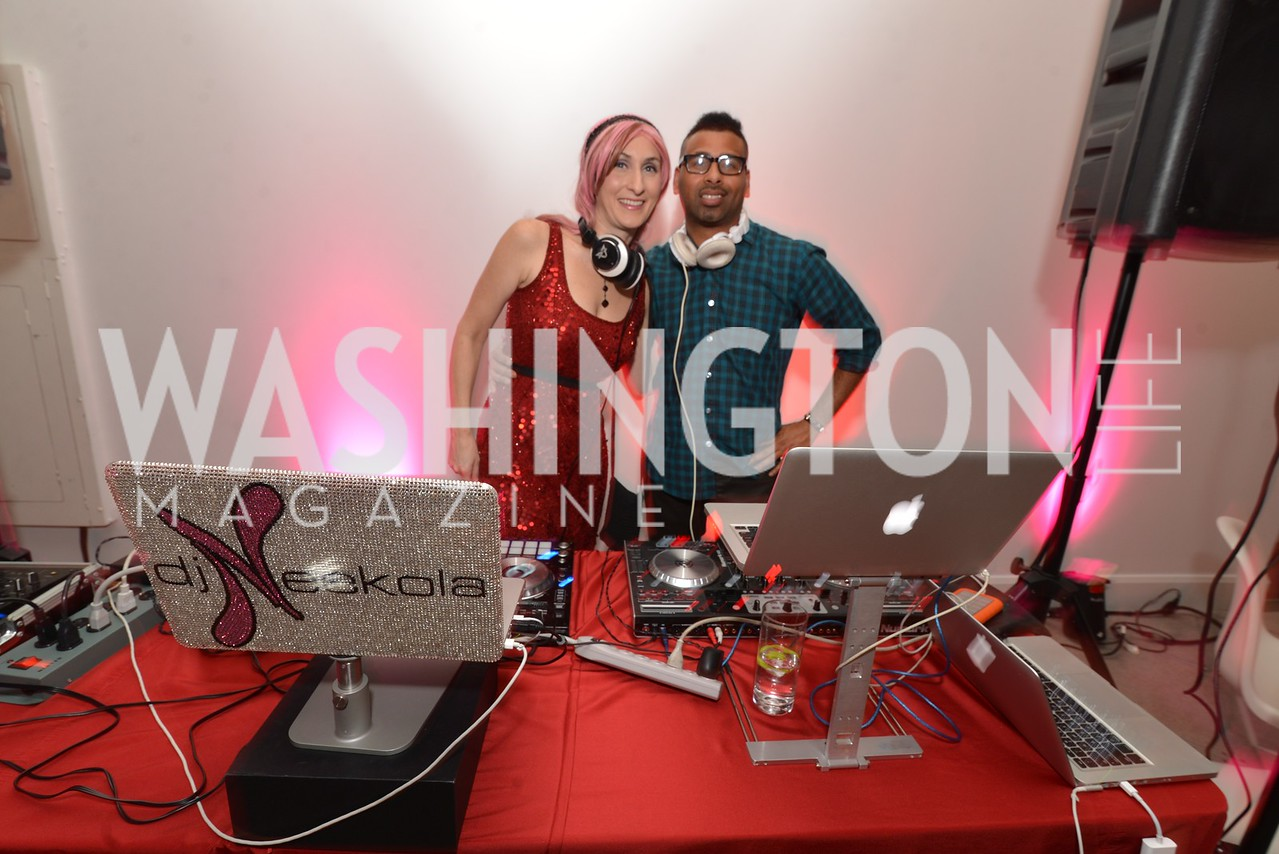 DJ Neekola and DJ Adrian Loving, Washington Life Magazine hosts the 8th Annual Young and the Guest List party at the Carnegie Library.  Photo by Ben Droz.