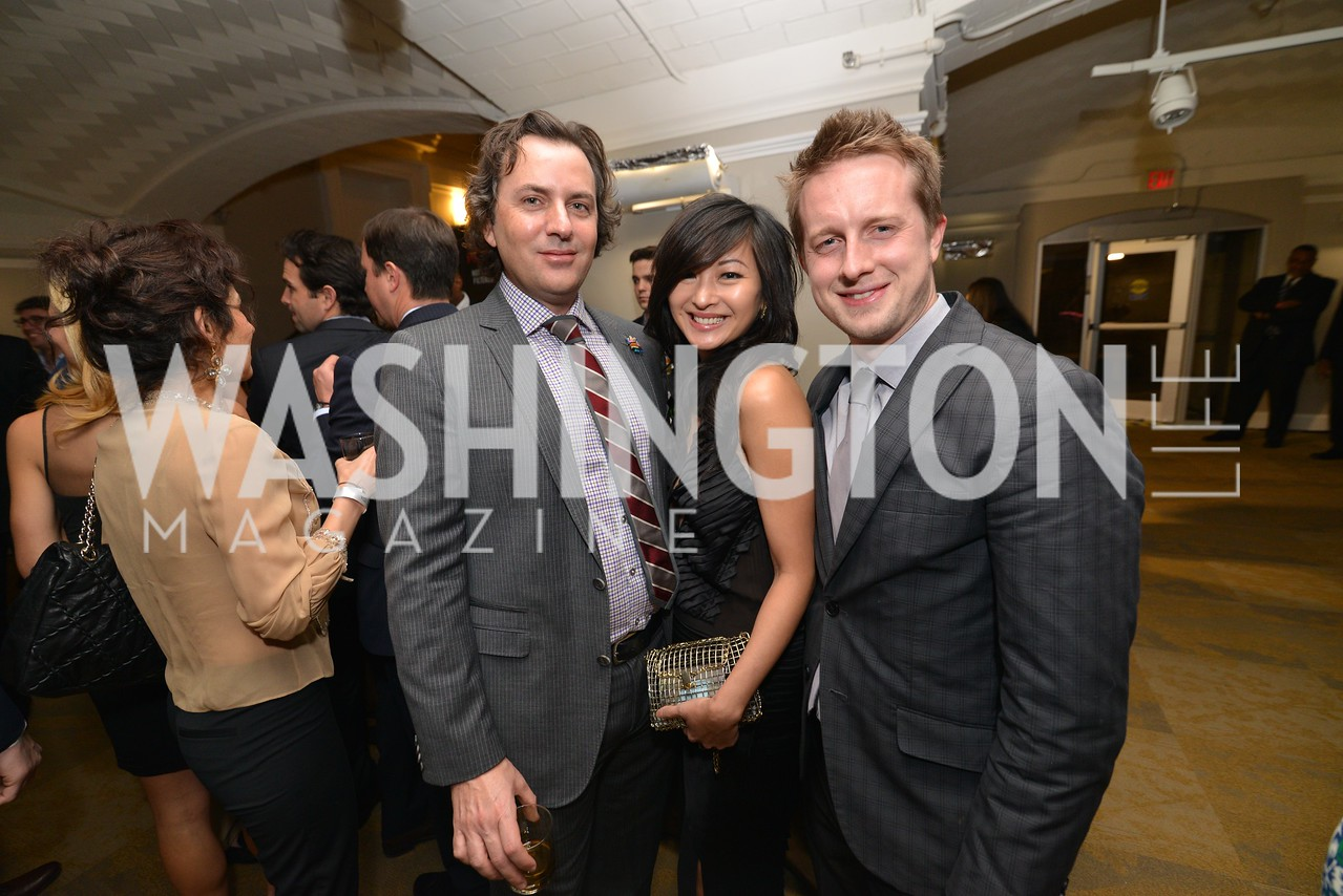 Michael Clements, Anchyi Wei, Ashtan Moore, Washington Life Magazine hosts the 8th Annual Young and the Guest List party at the Carnegie Library.  Photo by Ben Droz.