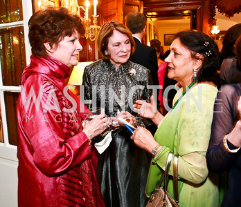 Lily Gunn, Jeanne Mitchler-Fiks, Mahinder Tak. Photo by Tony Powell. Young Concert Artists Gala Dinner. Indian Ambassador's residence. May 1, 2013