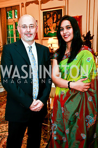 Mark Hayman, Chandra Vallera. Photo by Tony Powell. Young Concert Artists Gala Dinner. Indian Ambassador's residence. May 1, 2013