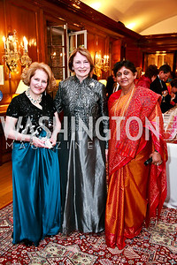 Juliette Six, Gene Mitchler-Fik, Suganthie Kabirgamar. Photo by Tony Powell. Young Concert Artists Gala Dinner. Indian Ambassador's residence. May 1, 2013