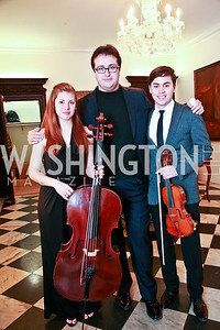 Cellist Cicely Parmas, Pianist Gleb Ivanov, Violinist Benjamin Beilman. Photo by Tony Powell. Young Concert Artists Gala Dinner. Indian Ambassador's residence. May 1, 2013