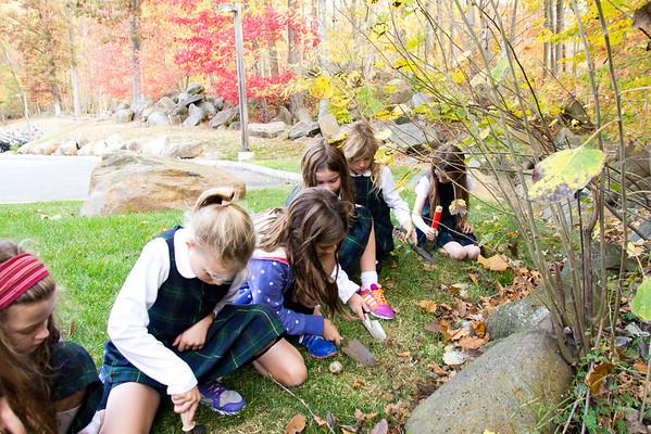Third Grade Girls Plant Hyacinths
