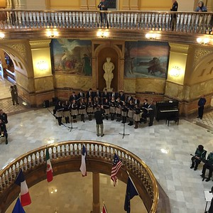 Photo by Lexie Wasinger '15Prior to the inauguration ceremony, the TMP-Marian singers perform for the assembling attendees