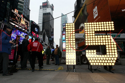 NEW YORK, NY - DECEMBER 16:  New Year's Eve Numerals Arrive In Times Square at Times Square on December 16, 2014 in New York City.