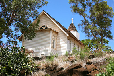 A peaceful setting for a white-frame church in Waimea, Hawaii.