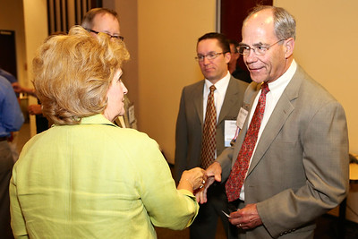 Rancho Cordova City Council Member Linda Budge greets Roger Niello at the annual Elected Officials Reception, sponsored by Rancho Cordova Chamber of Commerce (RCCC). The reception was held at Vision Service Plan Offices on June 11, 2014. RCCC photos sponsored by Republic Services.