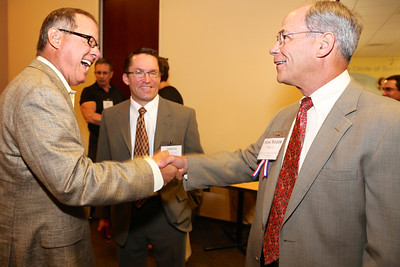 State Sen. Tom Berryhill greets Sacramento Chamber of Commerce President Roger Niello at the annual Elected Officials Reception, sponsored by Rancho Cordova Chamber of Commerce (RCCC). The was held at Vision Service Plan Offices on June 11, 2014. RCCC photos sponsored by Republic Services.