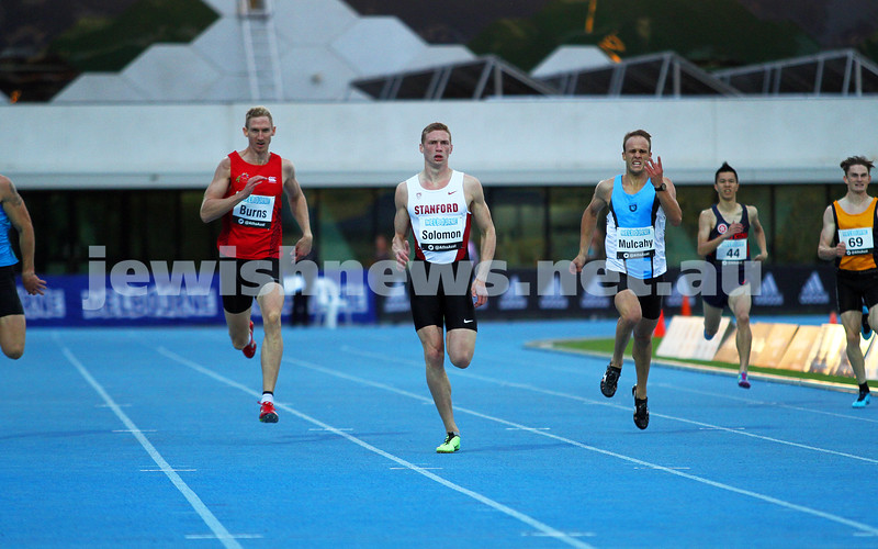 4-4-14. Australian Athletics Championships. Lakeside Stadium, Albert Park. Steve Solomon, 400m semi final. Photo: Peter Haskin