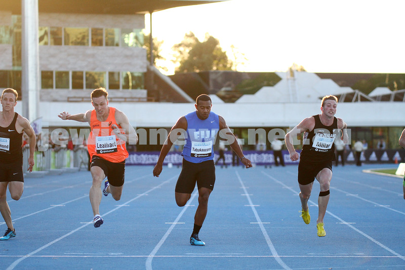 5-4-14. 2014 Australian Athletics Championships, Lakeside Stadium, Albert Park. Mens 100m final. Photo: Peter Haskin