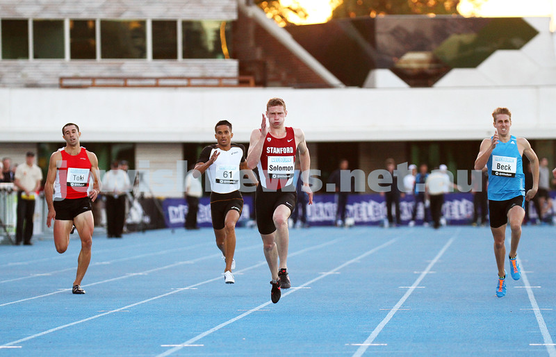 5-4-14. 2014 Australian Athletics Championships, Lakeside Stadium, Albert Park. Steve Solomon 400m final. Photo: Peter Haskin