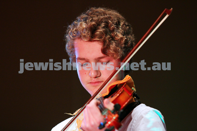 14-9-14. B'nai B'rith Youth Eisteddfod 2014. Finals Concert, Slome Hall, Temple Beth Israel. Winner of the strings classical 11 - 17 yrs section, Max Needleman. Photo: Peter Haskin