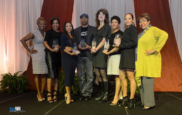 (Notables from left to right) Kathleen Bertrand, Wendy Raquel Robinson, Logan Brown, Muta' Ali Muhammad, Essence Atkins, and Deidre McDonald