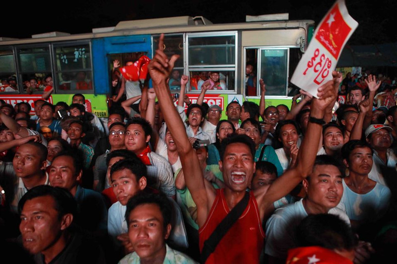 Photo from the Web after the 2012 elections when Aung San Suu Kyi's NLD party won 47 of the 48 parliamentary seats on the ballot.