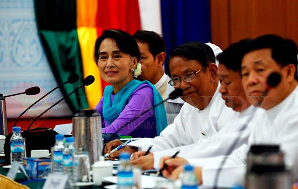 Web photo: Aung San Suu Kyi at a Peace Conference in 2016 in an attempt to stop the fighting in areas of ethnic minorities.