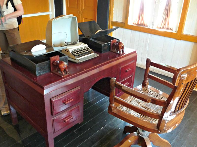 His desk.