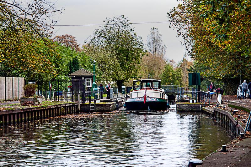 Boat entering the Caversham Lock on the Thames.   Going downstream, toward London.