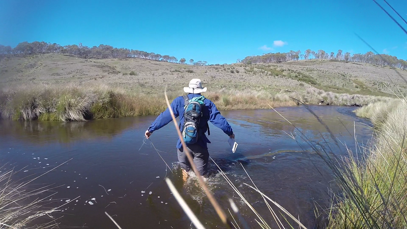 The water was a bit high crossing the Murrumbidgee River to get to control 41. Mark Euston getting his feet wet. <br /> <br /> Photo from Laure Gauthiez Putallaz.