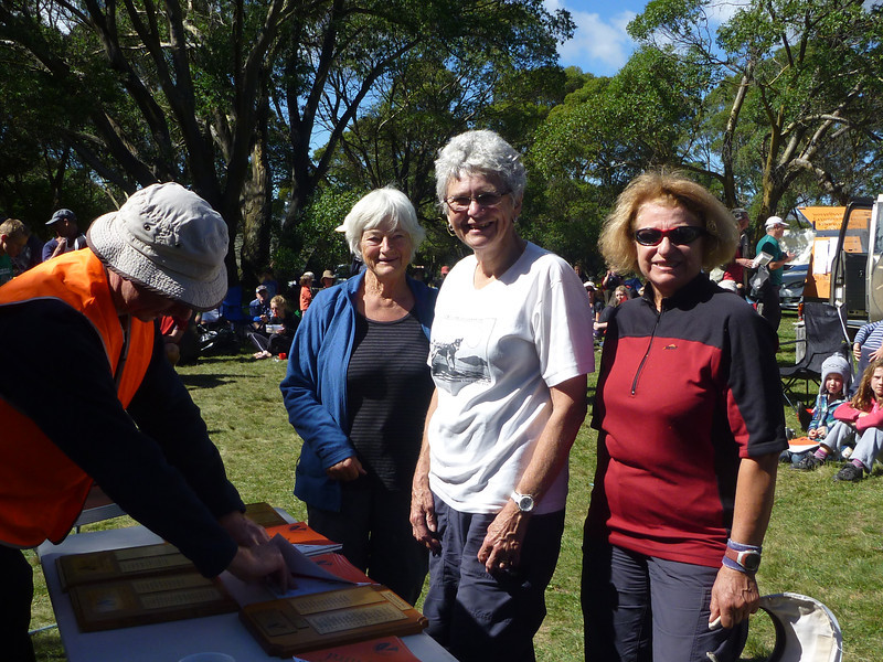 Kathy Saw, Anne Sawkins and Parissa Poulis - second Women's Supervets and third Women's Vets.