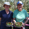 Debra Foggin and Janet Scott enjoying the gourmet food at the end of the rogaine (pork and fennel rissoles, chicken wings, fancy salads!... it was the best post-rogaining catering ever!).