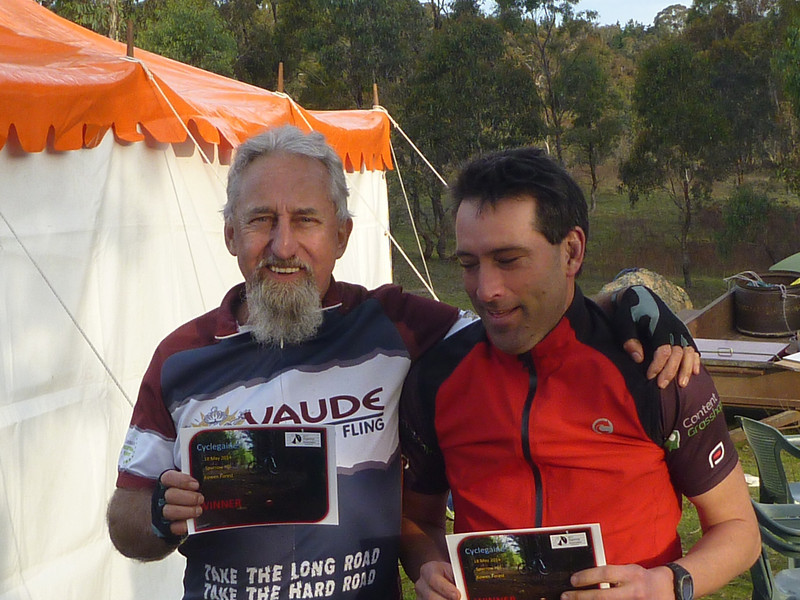 Cyclegaine winners of the Men's Veterans, second Men's Open and second overall - David Medlock and Robert Prentice.
