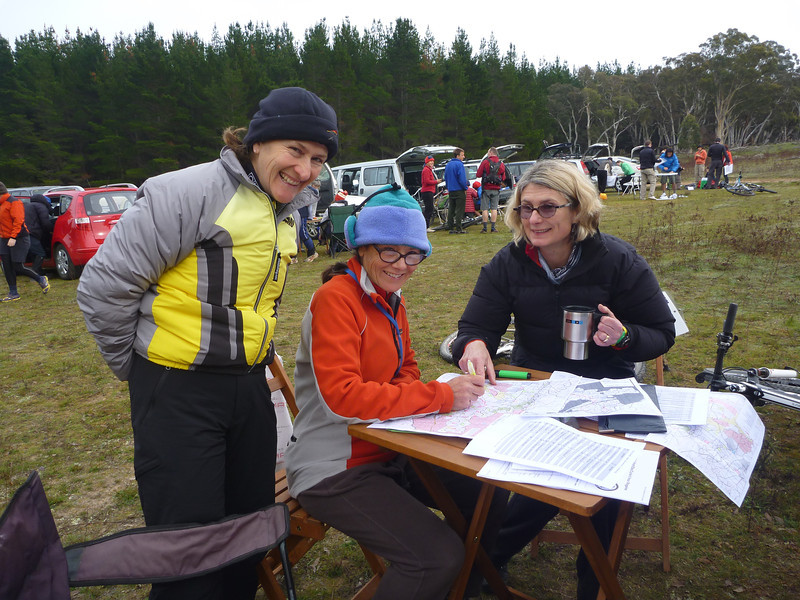 Peggy Douglass and Jenny Carroll planning their route.