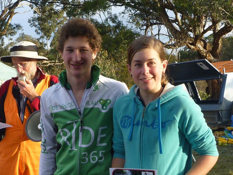 Junior winners of the cyclegaine - Alysha McNee-Darrach and Elliott Nunn.