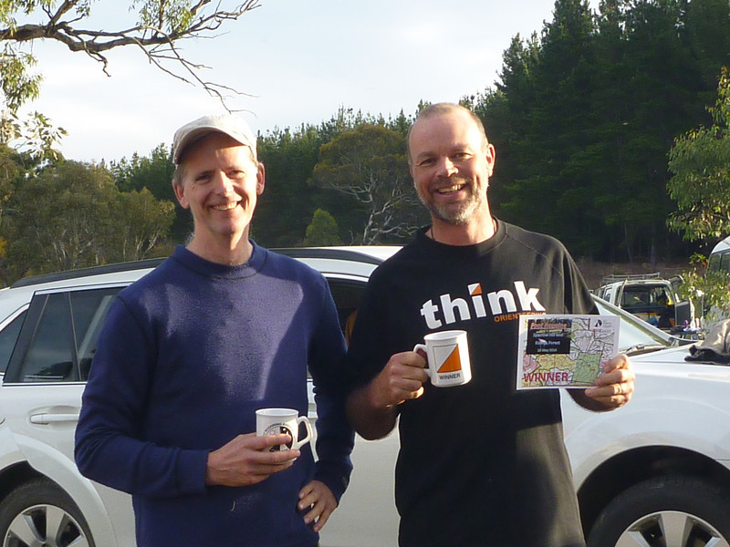 Men's Open and overall winners of the Footgaine - Jonathan Miller and David Poland - this time with mugs!